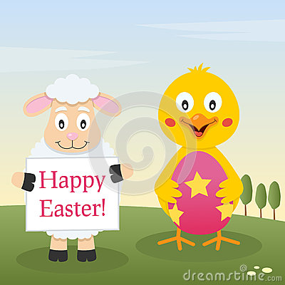 Chick & Lamb with Easter Egg