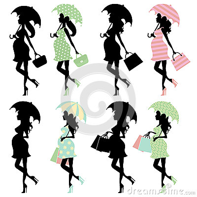 Free Chick Moms-to-be With Umbrellas Royalty Free Stock Images - 25334519