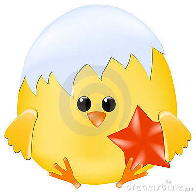 Chick with red star
