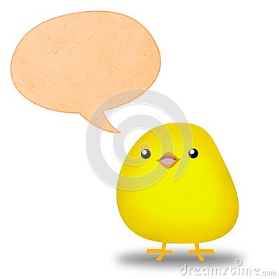 Chick speaking with brown bubble
