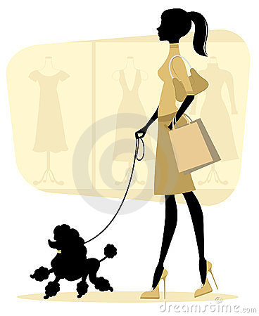 Chick woman shopping with her poodle