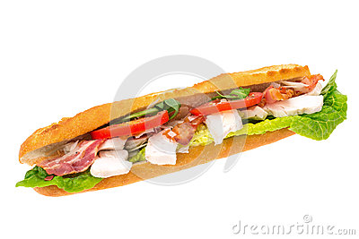 Chicken, bacon and salad filled baguette