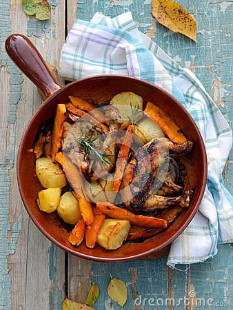 Chicken baked with potato and pumpkin