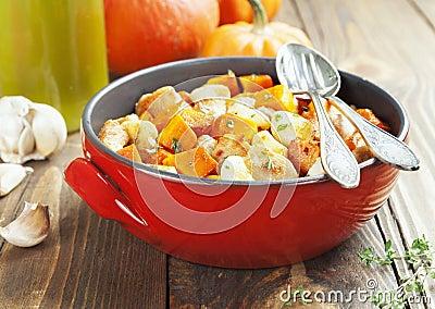Chicken baked with pumpkin