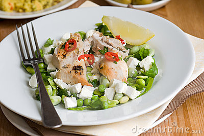 Chicken with beans and feta