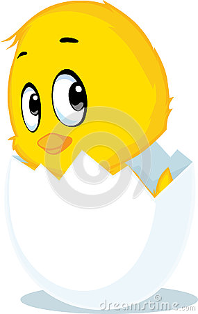 Chicken born from eggshell - vector illustration Vector Illustration
