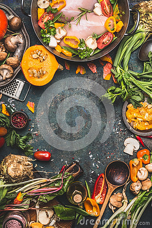 Free Chicken Breast With Pumpkin , Flavoring And Organic Garden Vegetables Ingredients, Cooking Preparation On Dark Rustic Background Royalty Free Stock Photos - 73764418
