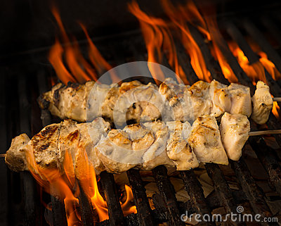 Chicken brochette on grill