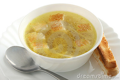 Chicken broth with dried crust