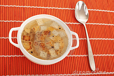 Chicken broth with egg and breadcrumbs