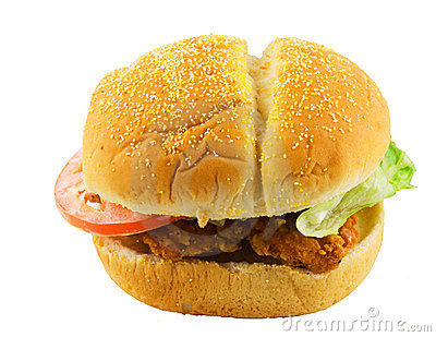 Chicken sandwich with tomato and lettuce
