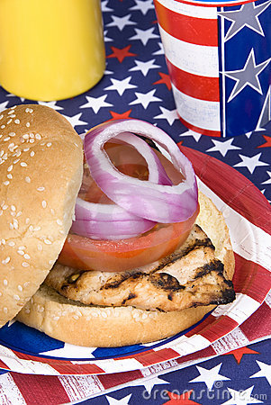 Free Chicken Burger On Fourth Of July Stock Image - 9587211