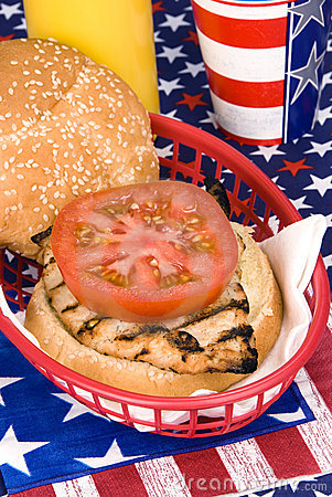 Free Chicken Burger On Fourth Of July Royalty Free Stock Photos - 9587238
