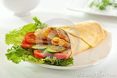 Chicken Burrito with Vegetables and Salad Leaf.