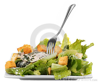 Chicken ceasar salad isolated