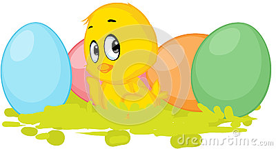 Chicken and colorful egg - vector easter design Vector Illustration