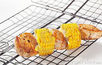 Chicken and corn skewer