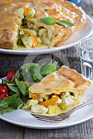 Free Chicken Curry Savory Pie Royalty Free Stock Photo - 50389415