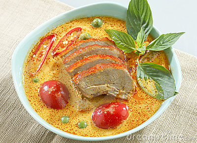 Duck green curry isolated