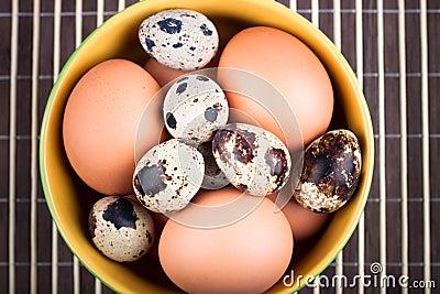 Chicken eggs and quail eggs