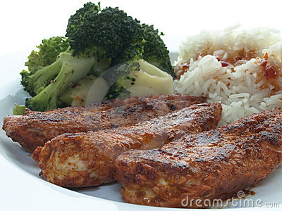 Chicken filet with broccoli and rice