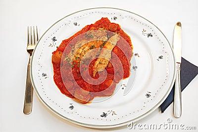 Chicken filet provencale.