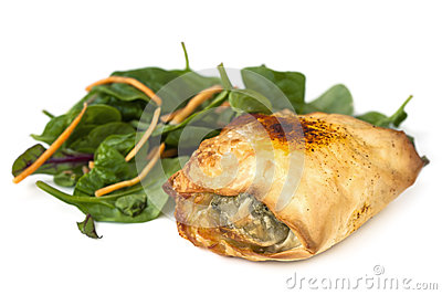 Chicken Filo with Spinach Salad over White