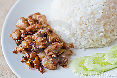 Chicken fry and rice food
