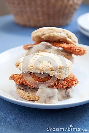 Chicken and gravy biscuit