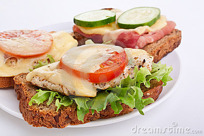 Chicken and ham sandwiches