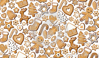 Gingerbread ginger cookie cookies bisquit sweets different set setting Christmas xmas holiday seamless pattern. Vector beautiful Vector Illustration