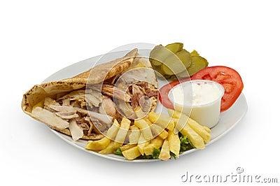 Chicken Kebab Shawarma Plate