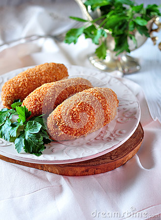 Free Chicken Kiev Cutlets With Parsley Leaves. Ukrainian Tradition Food. Stock Photography - 86920932