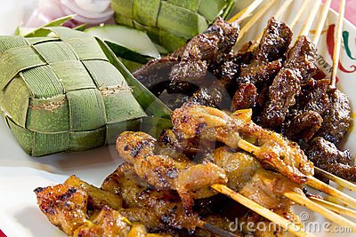 Chicken And Lamb Satay Skewers With Ketupat Rice Stock Photo - Image ...