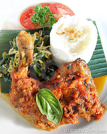 Chicken leg dish with rice