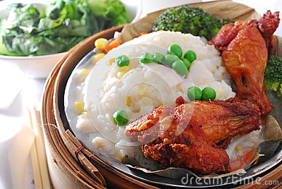 Chicken leg in lotus rice