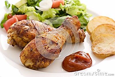 Chicken Legs with Salad