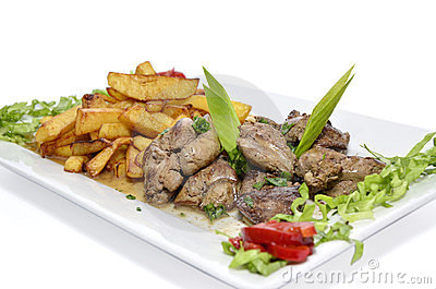 Chicken liver and potatoes
