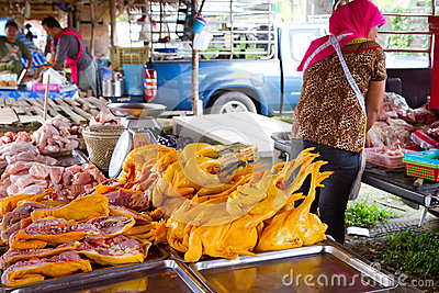 Chicken meat on the local market in Khao Lak Editorial Stock Image