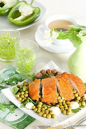 Chicken meat with pea