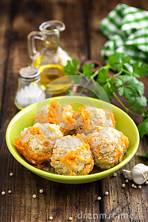 Free Chicken Meatballs With Rice Royalty Free Stock Photo - 90288355
