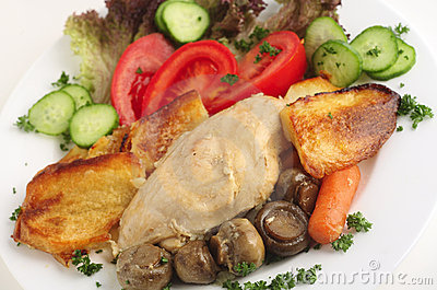 Chicken and mushroom casserole with salad