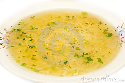 Chicken noodle soup - broth closeup