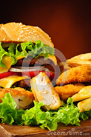 Chicken nuggets, burger and french fries