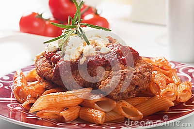 Chicken parmesan with macaroni pasta