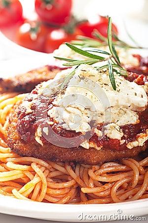 Chicken parmesan with spaghetti pasta
