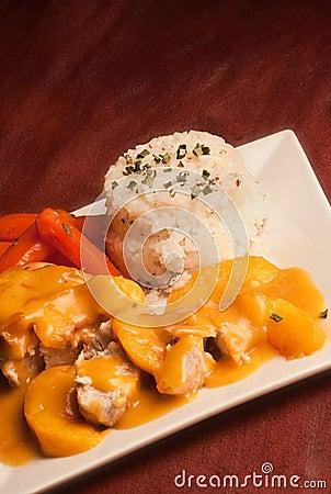 Chicken in peaches sauce