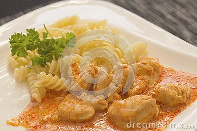 Chicken pieces with Pasta