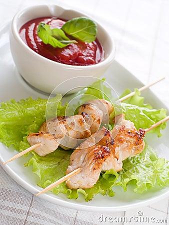 Chicken (or pork) on a grill spit