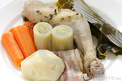 Chicken pot-au-feu , boiled chicken with vegetable